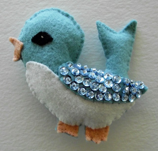 Felt and Sequin Bluebird Ornament 2